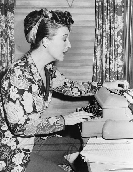 Gypsy Rose Lee at her typewriter. Photo by Fred Palumbo