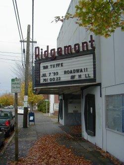The Ridgemont Theatre marquee in 2000.
