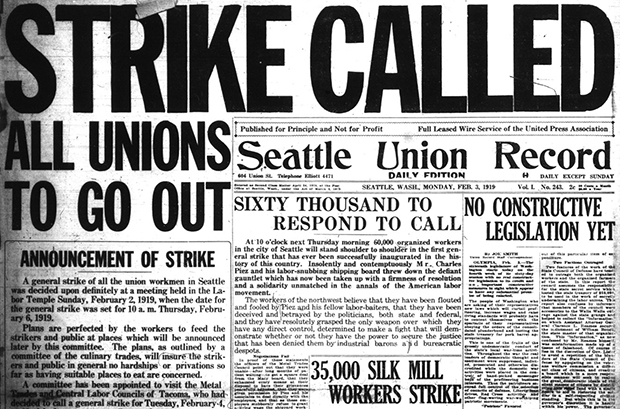 Front page of the Seattle Union Record announcing the Seattle General Strike, February 3, 1919