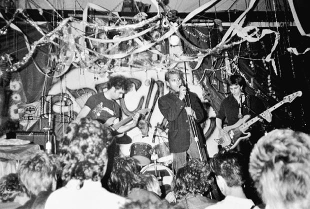 Skin Yard play at Gorilla Gardens, July 1985 From left: Jack Endino, Matt Cameron, Ben McMillan, and Daniel House Photo by Cam Garrett