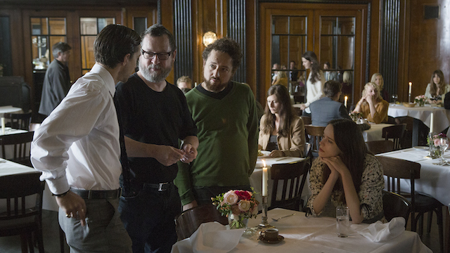 Lars Von Trier and cast discuss options. Photo by Christian Geisnaes.