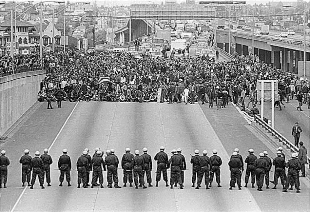 Marchers on I-5, Seattle, May 5, 1970 Museum of History and Industry