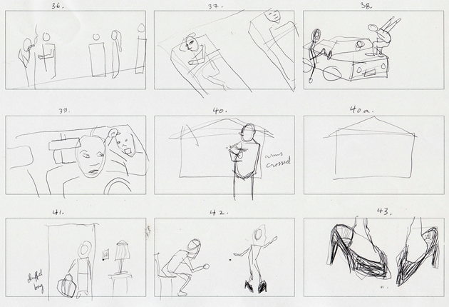 A storyboard sketch created during production of the illustrated documentary film Level 14.