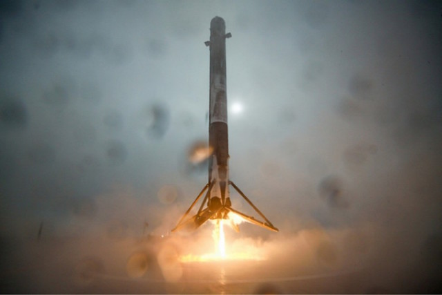 First stage of SpaceX's Falcon 9 rocket. Licensed CC0/Public Domain.