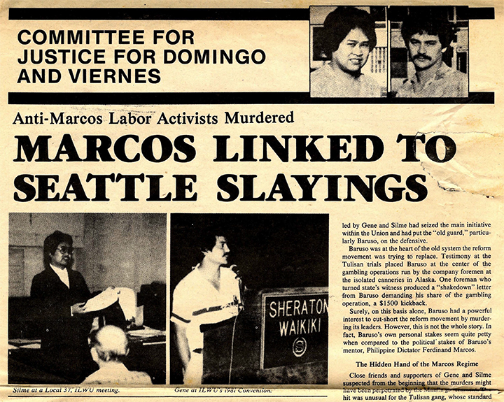 Newsletter reporting the link between the murders of Domingo and Viernes and the regime of Ferdinand Marcos, June 1981 Committee for Justice for Domingo and Viernes
